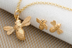 Gold Bee Necklace and Earring Set by Lily Charmed