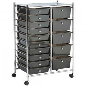 VonHaus Black 15 Drawer Trolley