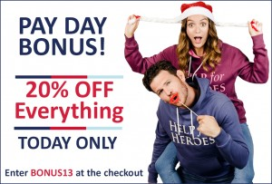 Pay Day Bonus! 20% off our site