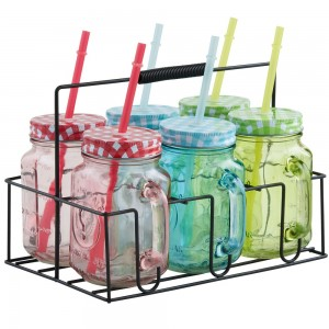 VonShef Multi Coloured Mason Jars