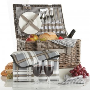 VonShef Grey Picnic Basket for 2