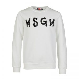 MSGM White Beaded Logo Sweatshirt