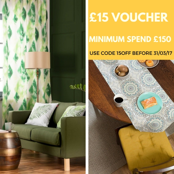 £15 voucher on home textiles and decor