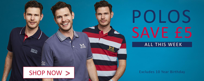 £5 off polo shirts