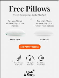 free pillows for every mattress order