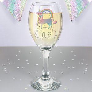 Personalised Unicorn Wine Glass