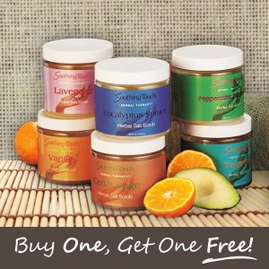 Buy 1 get 1 free on all Soothing Touch bath salts and scrubs.