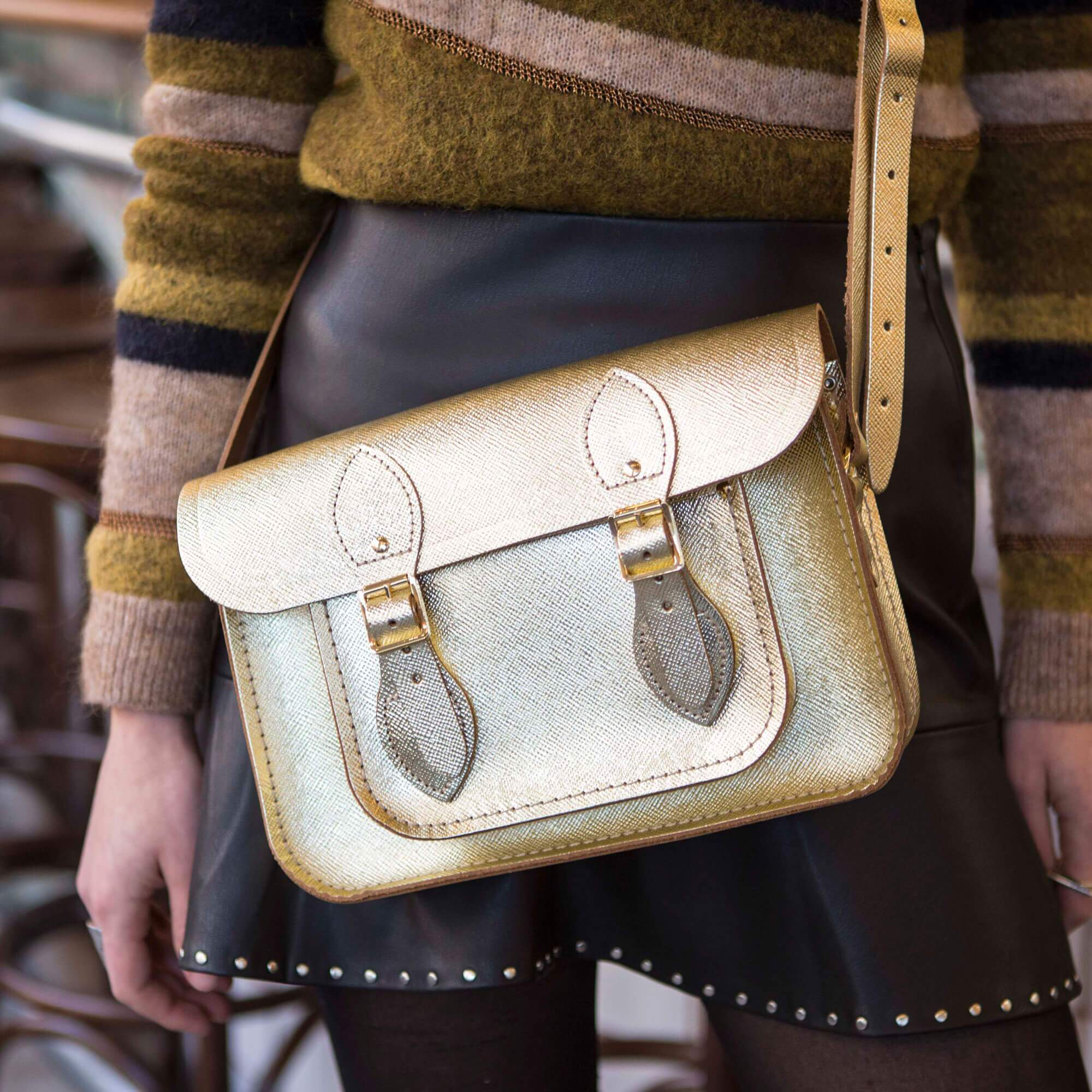 11 inch magnetic satchel in Gold Saffiano leather - SAVE 50% Was £150 now £75 - limited stocks available. Plus save a further 10% with discount code EXTRA10