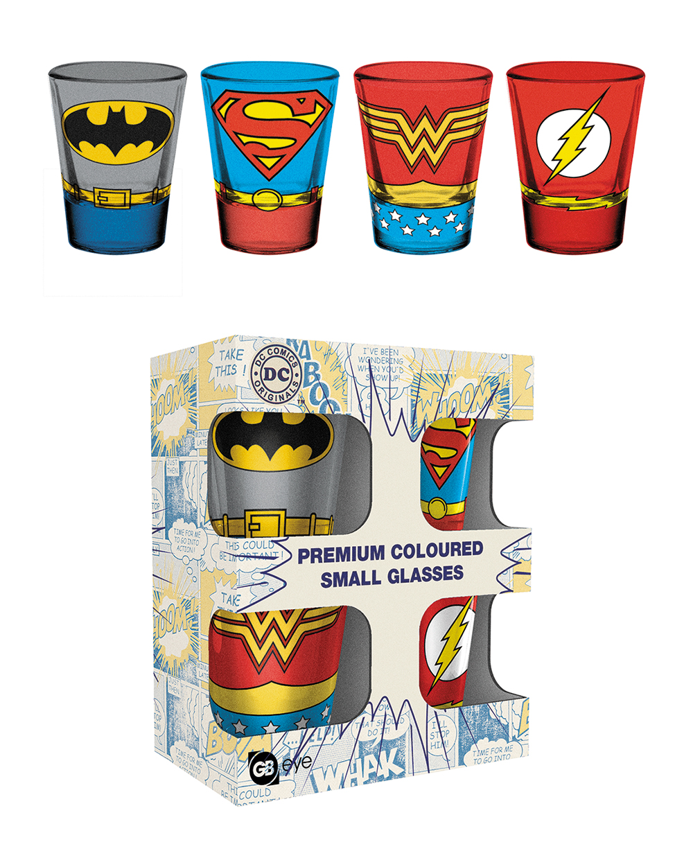 DC Comics coloured shot glasses