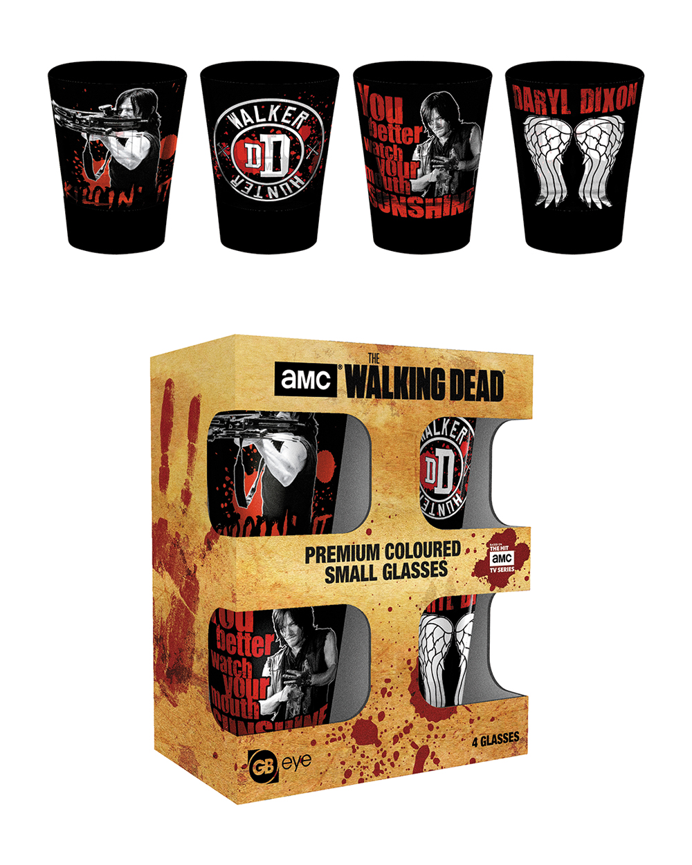 The Walking Dead coloured shot glasses