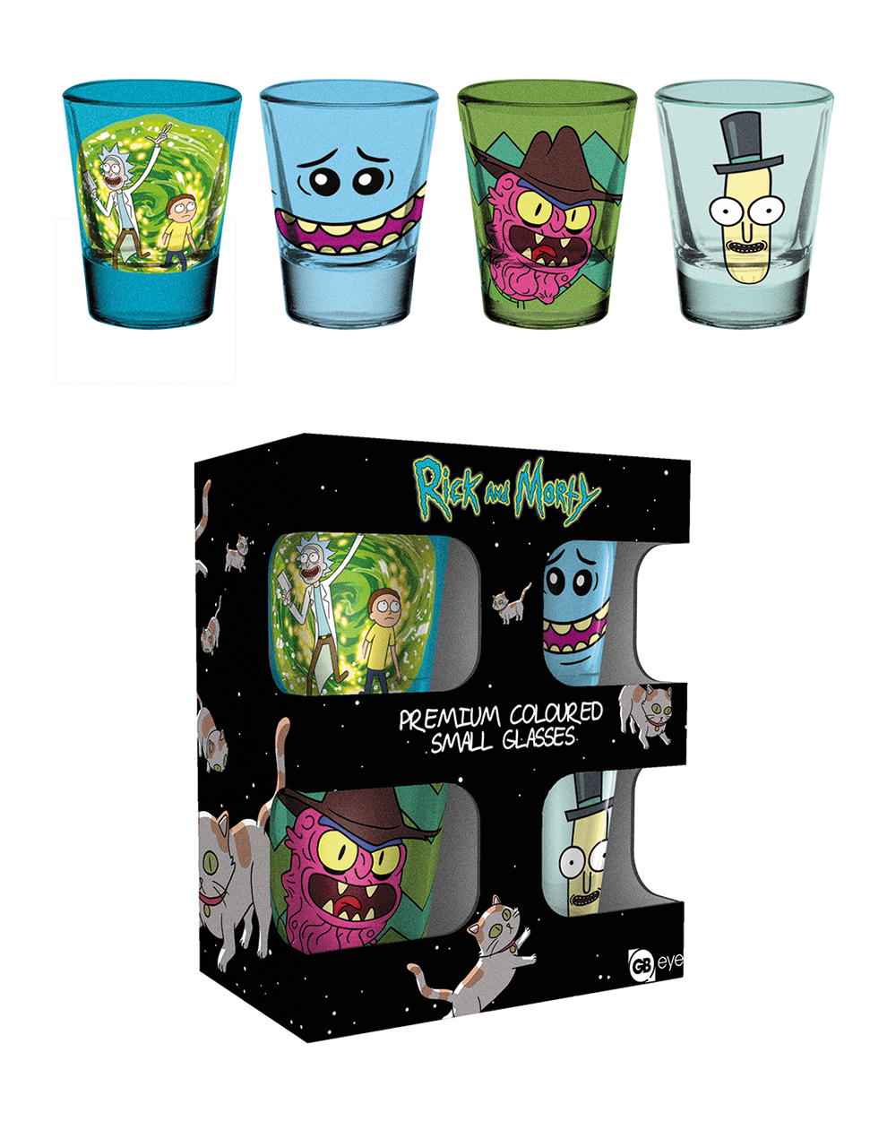 Rick and Morty coloured shot glasses