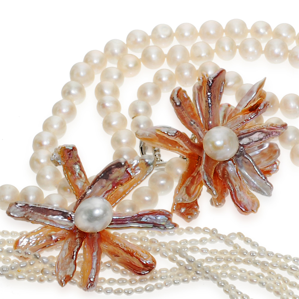 Beautiful biwa pearl stick petals stunning gift for Mothers Day
