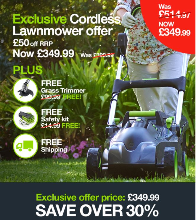 Garden gtech cordles lawnmower