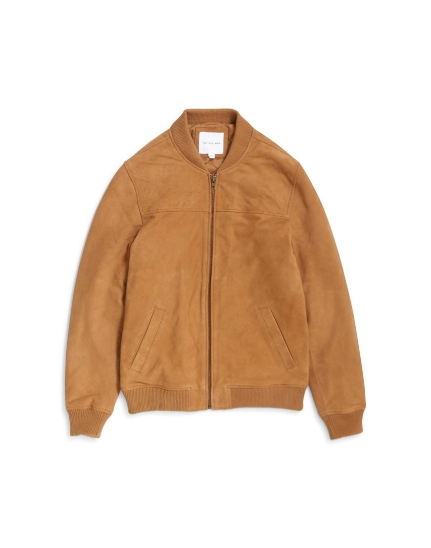 8a20f6c841d The Idle Man -Suede Bomber Jacket Tan - £84.00