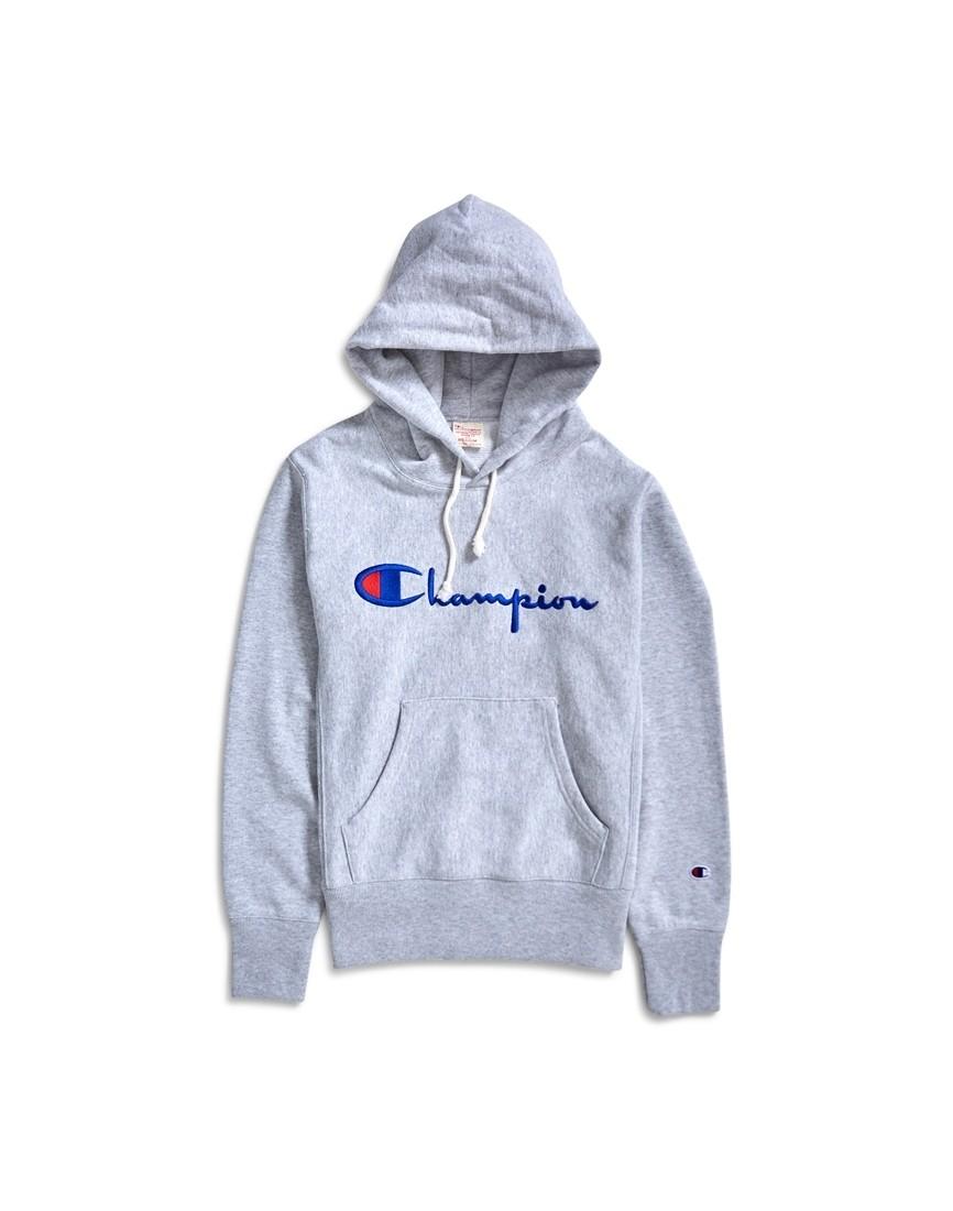 best service 7af70 74496 Champion - Reverse Weave Script Logo Hoodie Grey - £63.00