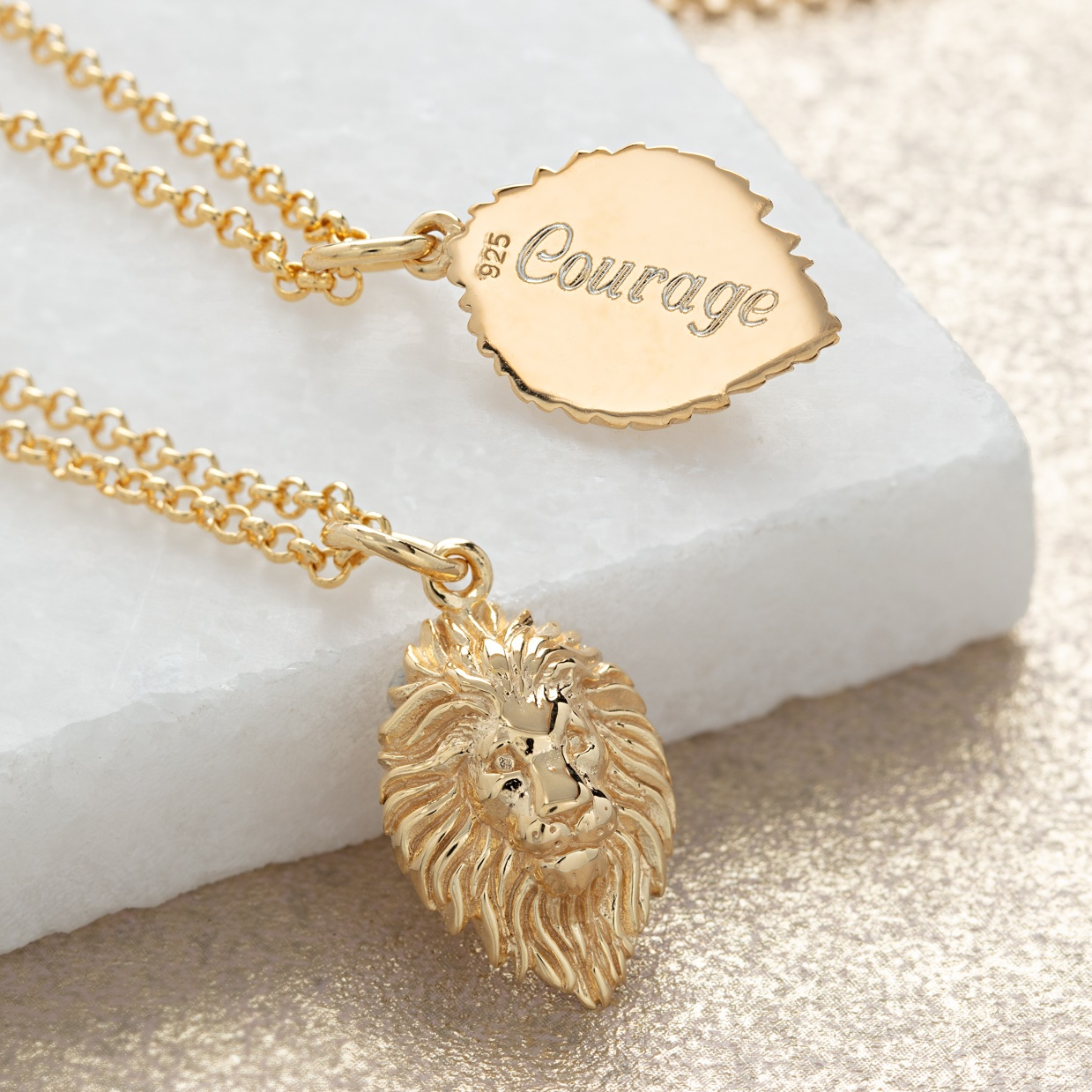 Gold Lion head engraved necklace by Lily Charmed