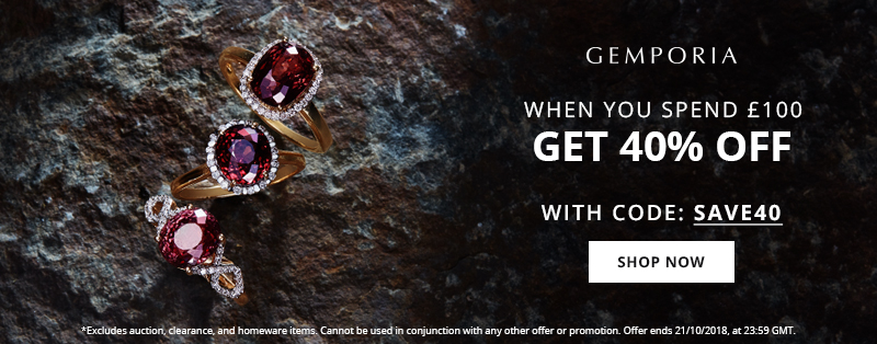 Get 40% Off When you spend £100 This Weekend with Gemporia.com