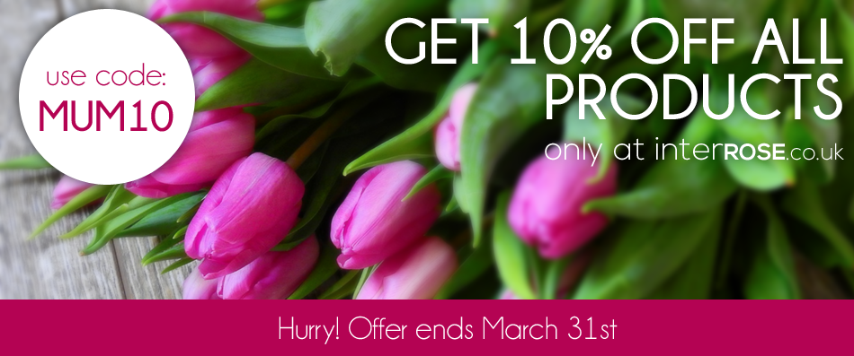 """Save 10% at interROSE.co.uk with offer code """"MUM10"""""""