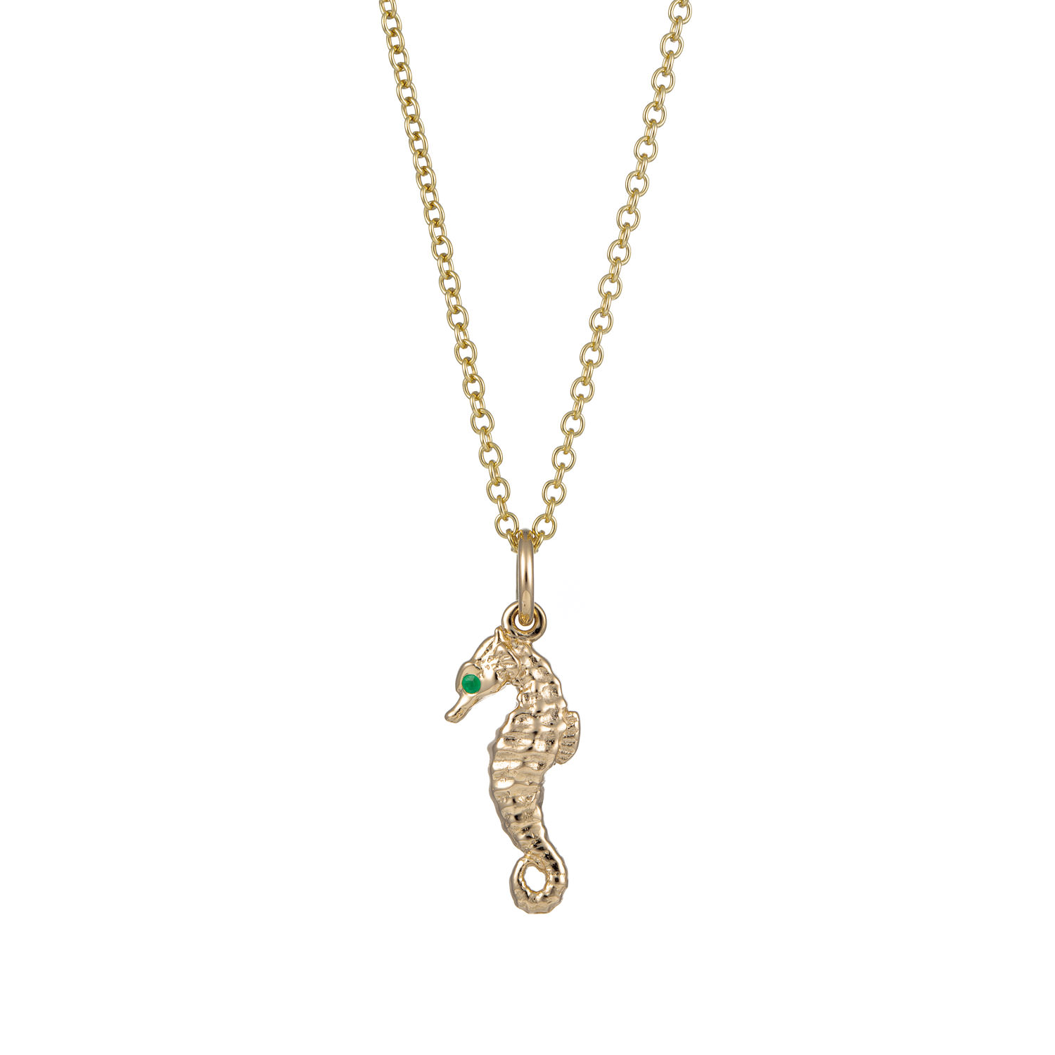 065cf2af6 Personalised 9 Carat Gold and Emerald Seahorse Necklace