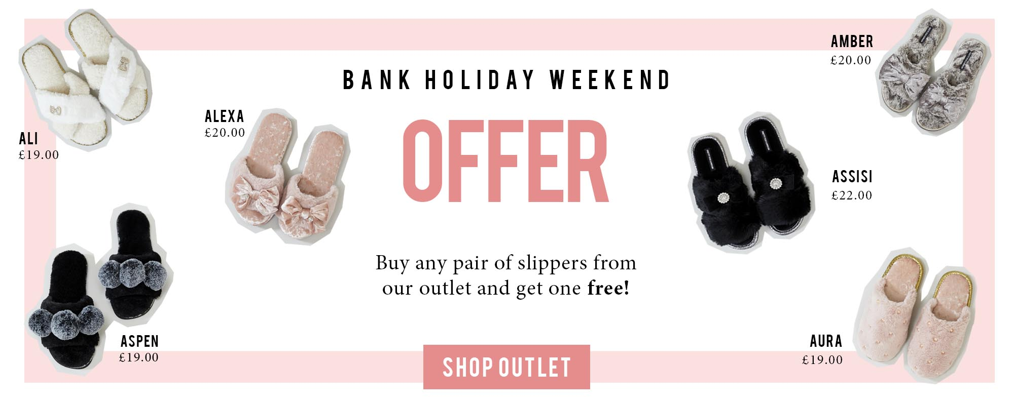Buy one get one free on luxury slippers from Pretty You London