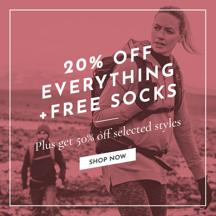 20% off everything + free socks!