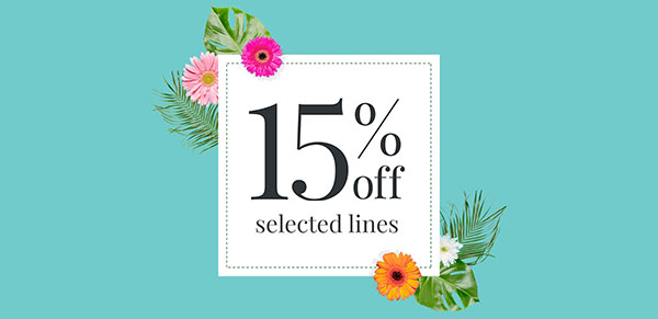 15% off selected lines